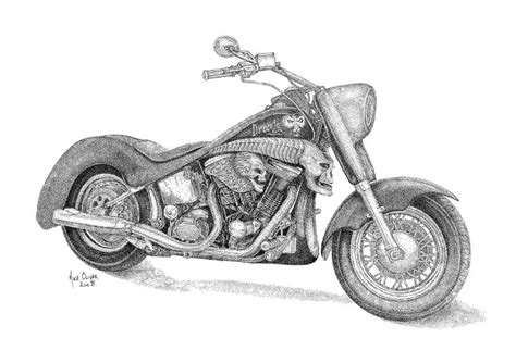 Harley Davidson Drawings by Harley Davidson Drawing Pointallism Drawing By Mike Oliver
