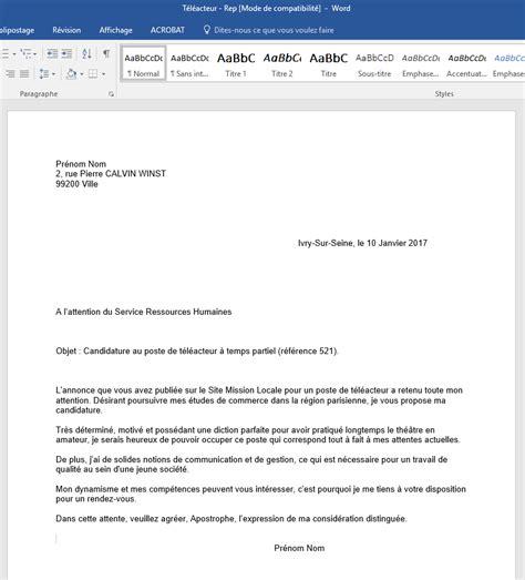 exemple lettre postale exemple lettre lettre de motivation poste de t 233 l 233 acteur mission locale