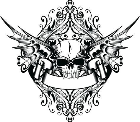 coloring pages of skulls with wings 骷髅头纹身矢量图片 图片id 194975 流行元素 底纹边框 矢量素材 淘图网 taopic com