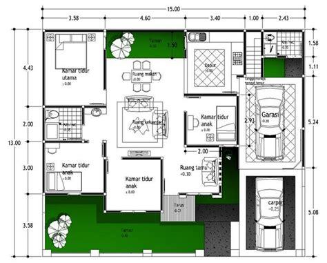 desain rumah hook type 100 denah rumah minimalis modern 1 lantai plant home