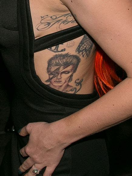 lady gaga s tattoos gaga s david bowie singer shows ink at v