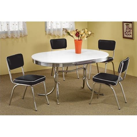 coaster oval retro dining table with 4 chairs in chrome