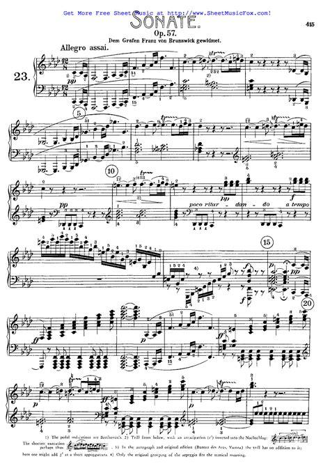 ludwig van beethoven music free sheet music for piano sonata no 23 op 57 beethoven
