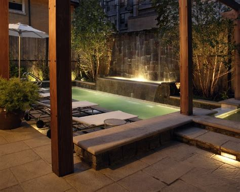 backyard tightrope small pool and spa integrated in tight backyard with