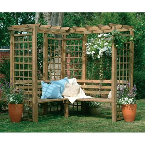 outdoor wooden corner seating classic corner bench wooden lattice garden arbour pergola