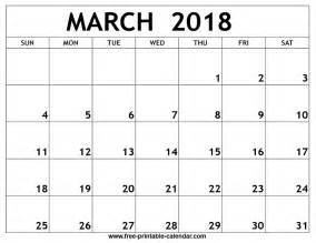 Calendar 2018 For March March 2018 Printable Calendar