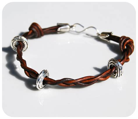 make leather jewelry large on leather cord make bracelets