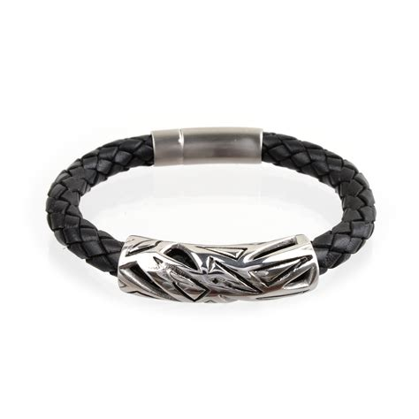mens braided black leather bracelet trianglerichbud