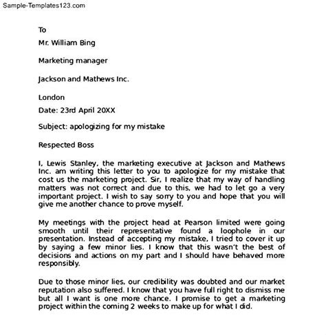 Apology Letter Format To Employer Work Apology Letter To Sle Templates