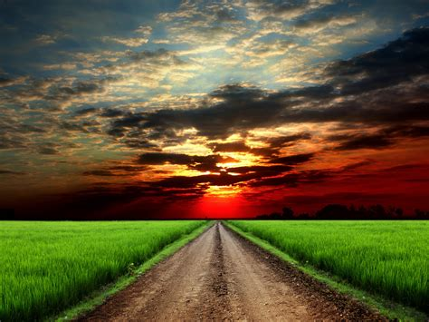 Exotic Colors roads fields sunrises and sunsets sky clouds nature