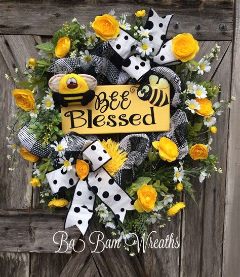 summer decorations summer wreath summer decor summer door everyday wreath bee