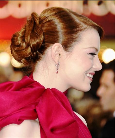 emma stone updo hairstyles pictures of emma stone casual sleek updo hairstyle