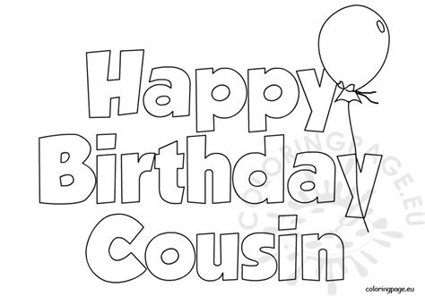 happy birthday best friend coloring pages happy birthday cousin balloon coloring page