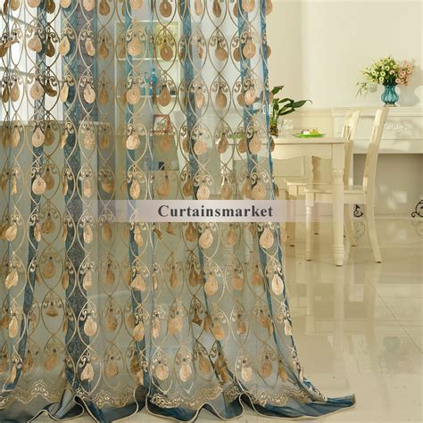 teal and gold curtains elegant embroidery craftsmanship teal sheer curtain