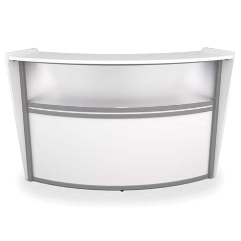 White Curved Reception Desk Ofm Marque Plexi Single Unit Curved Reception Station In White 55310 White