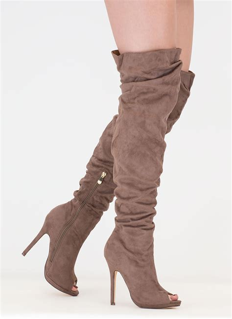i slouch faux suede thigh high boots taupe gojane