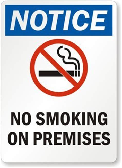 no smoking signs 7 quot x10 quot interior signs seton notice no smoking on premises with graphic aluminum