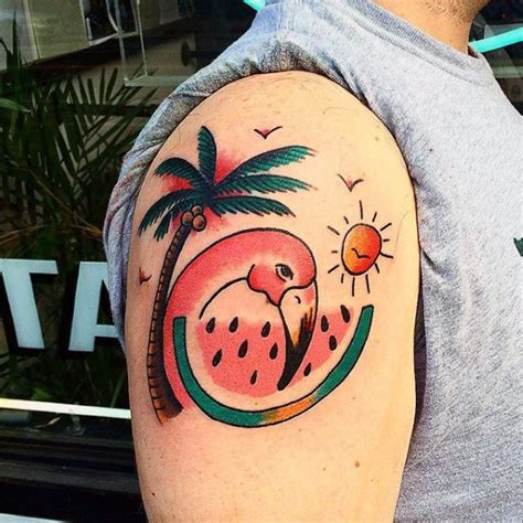 tattoo old school tree old school style painted flamingo with palm tree tattoo on