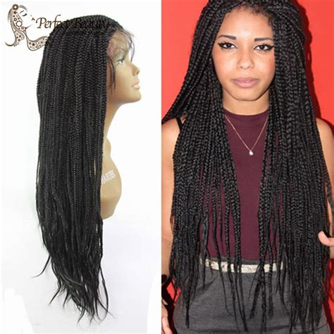 african box braided front lace wigs box braid wig lace front black 18 quot with baby hair african