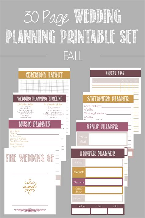 free printable wedding planner pdf 30 page wedding planning printable set available in 4