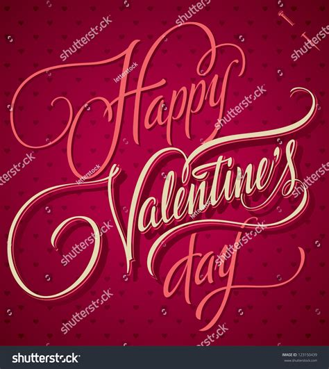 happy valentines day lettering happy valentines day lettering handmade stock vector