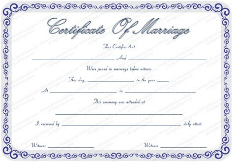 printable marriage certificate template marriage certificate template certificate templates