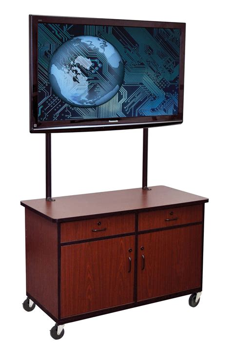 Tv Storage Cabinet Luxor Mobile Wood Locking Storage Cabinet With Universal Lcd Tv Mount Ebay
