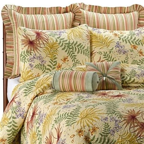 tropical quilts and coverlets liz claiborne bon aire 2 king pillow shams quilted yellow