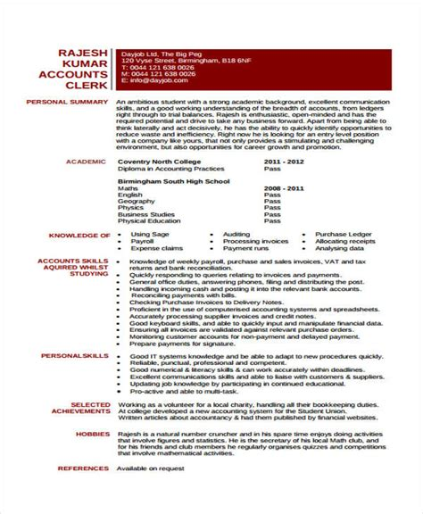 cv for accountants 100 images resume template for