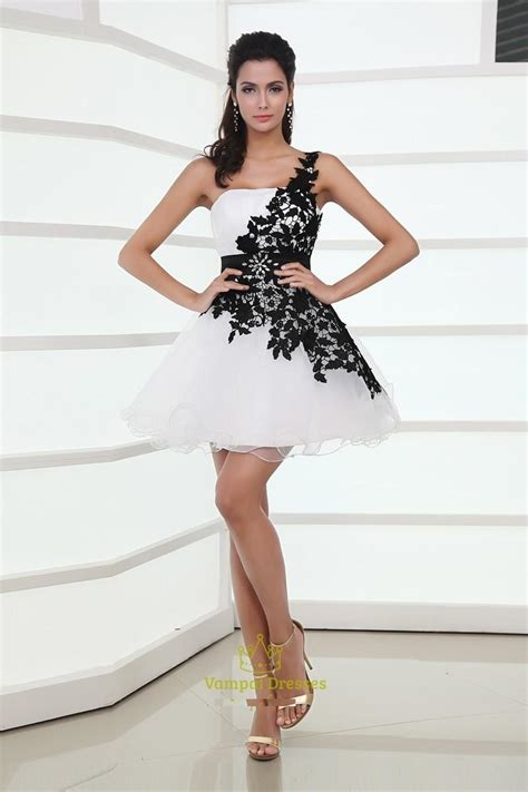 design dress black and white black and white one shoulder cocktail dress outfit4girls com