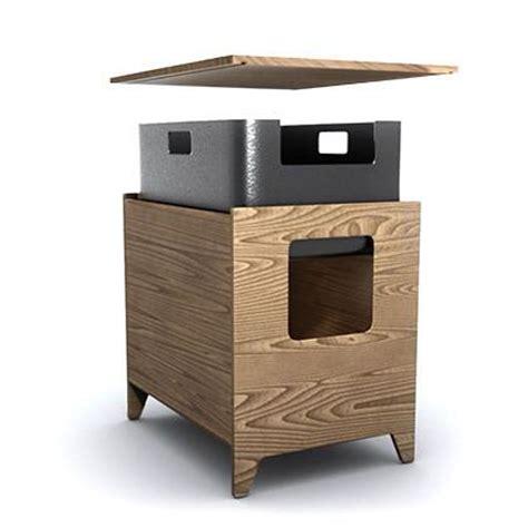 curio modern cat litter box walnut hauspanther