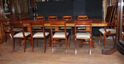 Dining Table Set For 12 Walnut Regency Dining Set Pedestal Table Matching 12 Chairs Ebay