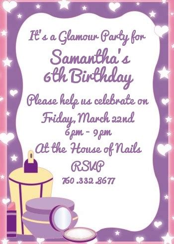 glamour girl birthday party invitations | candles and favors
