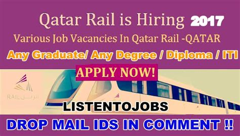 Fresher Mba In Qatar by Vacancies In Qatar Rail 2017 Listentojobs