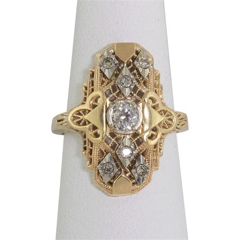 14k yellow gold filigree ring size 6 6 1 4