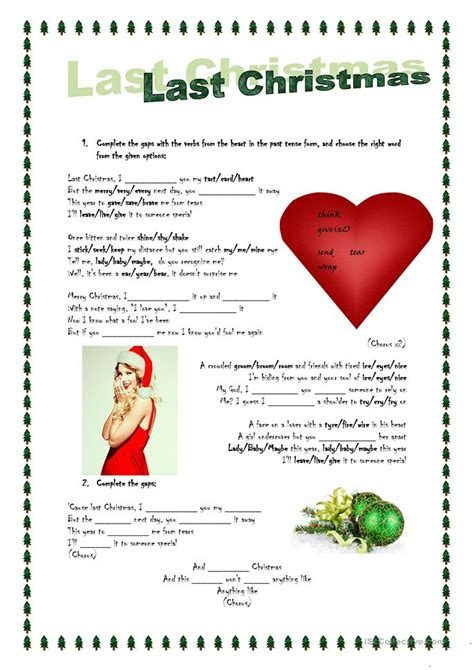 printable lyrics last christmas wham song activity last christmas worksheet free esl