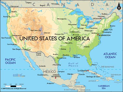 america map oceans physical map of united states of america ezilon maps