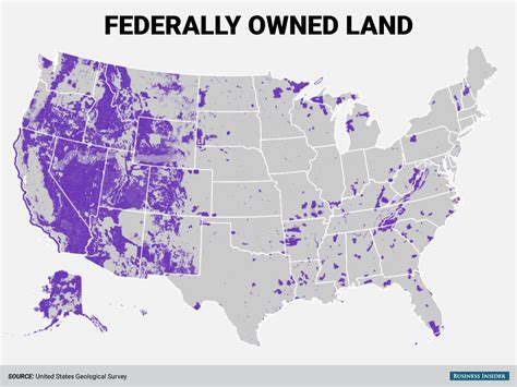 map us federal lands federal government land map business insider