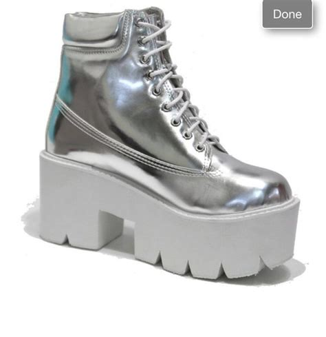 shoes holographic platform shoes boots chunky cleated