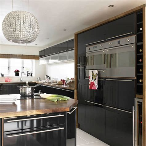 stylish kitchenware be inspired by this contemporary black gloss kitchen