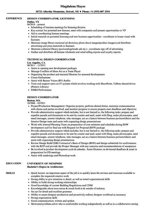 design coordinator cv design coordinator resume sles velvet jobs