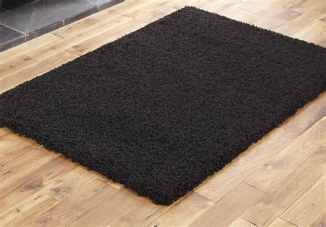 Large Black Shaggy Rug by Black Small X Large Modern Rug Thick 5cm High Pile