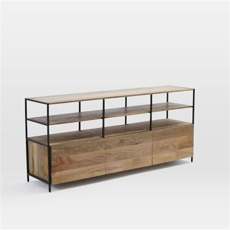 rustic media console industrial modular 67 quot media console west elm