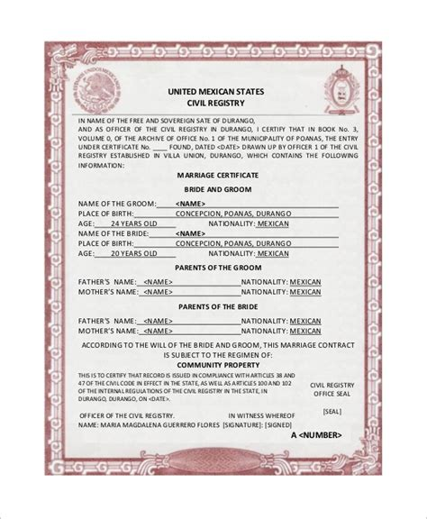 mexican marriage certificate translation template 16 sle marriage certificates sle templates