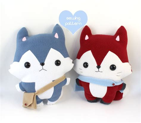 diy plushies pdf sewing pattern bundle husky wolf fox stuffed animal easy beginner kawaii anime