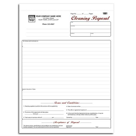bid service cleaning and janitorial invoice forms designsnprint