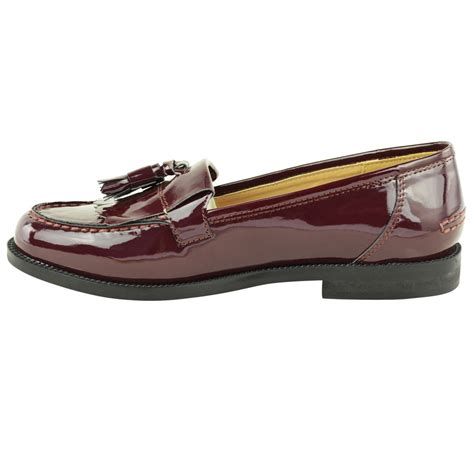 womens casual loafers womens flat casual office patent faux leather