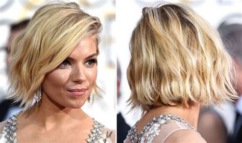 haircuts for protruding chin sienna miller s wavy bob hairstyle at the golden globes