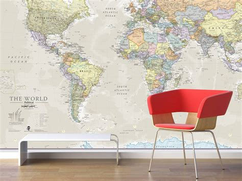 map wall murals classic world map mural by maps international