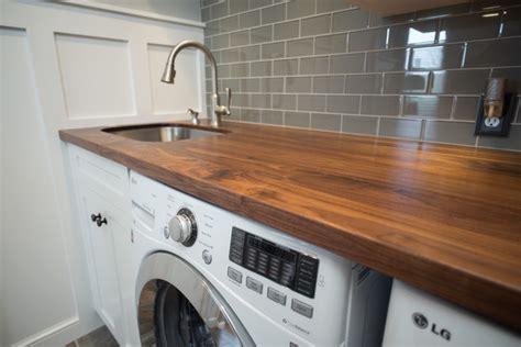 Walnut Counter With Stainless Undermount Sink Craftsman Laundry Sink And Countertop